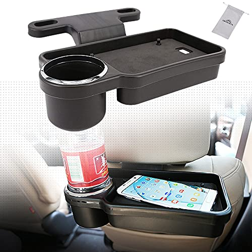 OKAHITA 車載ウォーターカップホルダードリンクホルダー後部座席シェルフダイニングテーブル のウォーターボトル、トレイ付きカーバックシートオーガナイザー、コーヒーカップの実用的な取り外し可能なボトルホルダーに適しています