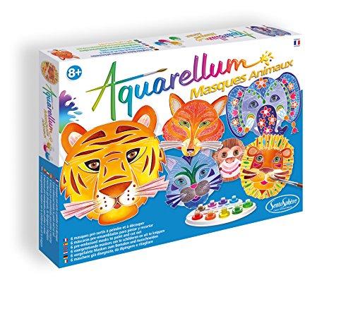 Sentosphere 06410 Aquarellum, lustige Tiermasken zum selbst gestalten und ausmalen, DIY-Kit, Bastelset für Kinder