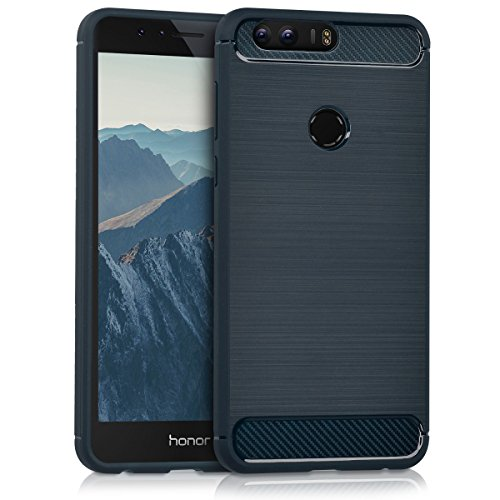 kwmobile Huawei Honor 8 / Honor 8 Premium Hülle - Handyhülle für Huawei Honor 8 / Honor 8 Premium - Handy Case in Brushed Carbon Design Dunkelblau