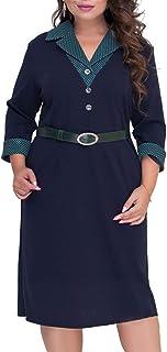 33d69df9442 COCOEPPS Women s Plus Size Winter V-Neck Elegant Lady Office Party Dresses  with Belt