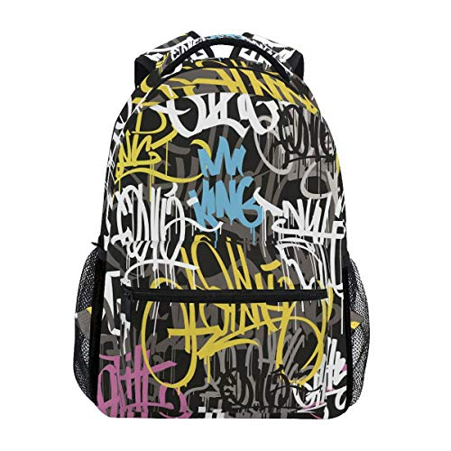 Rucksäcke Hip Hop Gra-Ffiti Street Art Laptop-Druck Spezielle Rucksack Schule Junge Gedruckt College-Tasche Casual Fashion Student Travel Lightweight