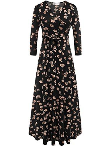 Aphratti Women's 3/4 Sleeve Casual Faux Wrap V Neck Floral Maxi Dress Black XL