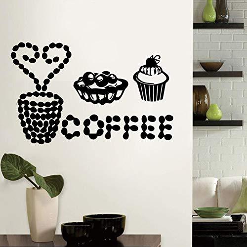 PISKLIU Muurstickers Muurfiguren plezier koffie zelfklevend vinylbehang voor woonkamer bedrijf school kantoor decoratie accessoires wandafbeeldingen 58X36 cm