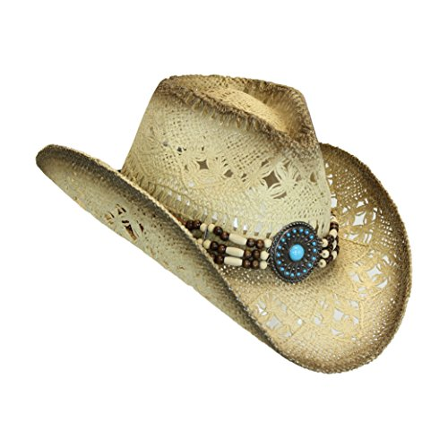 Western Toyo Straw Cowboy Hat, Shapeable w/, Natural Tea Stain, Size One Size