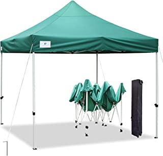 ALLINBOOST 10x10 Pop Up Outdoor Canopy Tent, Beach Canopy Sun Shelter, Commercial Instant Grill Gazebo with Wheeled Carry Bag for Food Vendors, Farmers Market and Backyard Events (Dark Green)