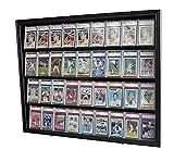 Lockable 36 Graded Sports Card Display Case, for Football, Baseball, Basketball, Hockey Comic Trading Cards (Horizontal-Black Finish)