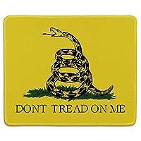 アートマウスパッド-天然ゴム製のマウスパッドは私にトレッドを印刷しないでください。コイルドガラガラヘビのガズデンフラグ-ステッチエッジ
