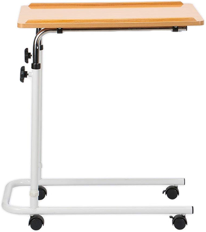 TraTragbarer Verstellbarer Laptoptisch Anhebbarer Pflegebett-Beistelltisch, Medizinischer Tisch, Mobiler Computertisch, Schreibtisch-Rollwagen, Computer-Hubtisch, Holzfarbe, 60,5  40  (68-105) Cm Ki