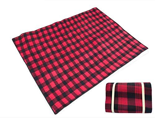 Kuailaidan picknickdeken buiten, 2 x 1,5 rijst, dik, van suède, camping, waterdicht, voor strand, waterdicht, picknickdeken 200 * 150CM Grand treillis rouge