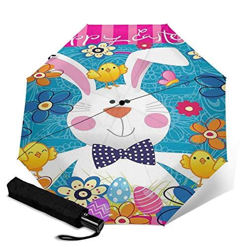 Paraguas automático de primavera, felices fiestas de Pascua, protección de sol grueso, fuerte y estable, resistente al viento, paraguas pequeño y ligero plegable para mujeres y hombres al aire libre