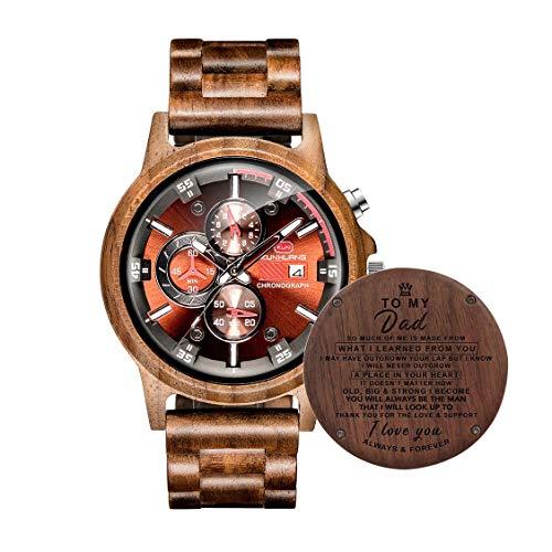 AUkaiqu12 Relojes de Madera Grabados Personalizados para Hombre Relojes Deportivos multifuncionales Texto Personalizado Regalo del día del Padre Personalizado
