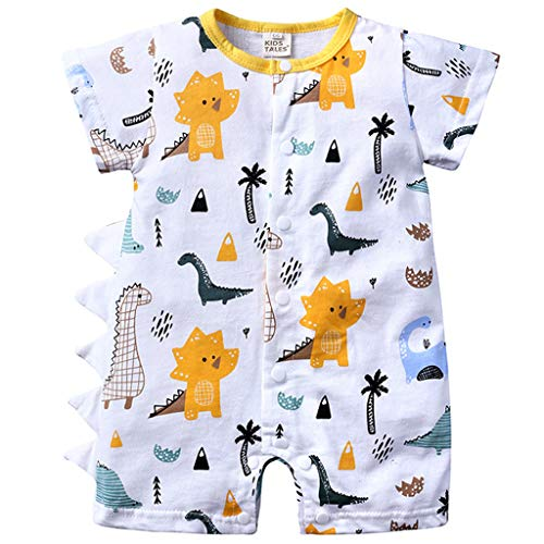 Bebé Niño Mameluco Mangas Cortas Mono Impreso Pelele Algodón Pijama Estampado de Dinosaurio Body Traje de Dormir Ropa de Verano