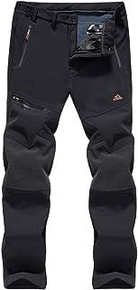 BIYLACLESEN Men's Outdoor Hiking Pants Fleece Lined Ski Pants Zipper Pockets