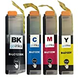 1 Go Inks Set of 4 Ink Cartridges to replace Brother LC123 Compatible/non-OEM for Brother DCP and MFC Printers (4 Inks), Standard Capacity, Black, Cyan, Magenta, Yellow, B-LC123-SET-1