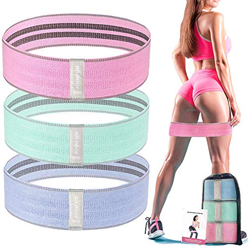 Booty Bands for Legs and Butt Fabric Resistance Bands Set Glute Bands for Working Out Women Men Loop Bands for Exercise Fitness 3 Levels Cloth Workout Bands Non Slip Hip Bands Squat Bands