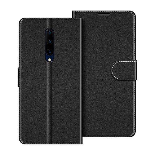 COODIO Handyhülle für OnePlus 7 Pro Handy Hülle, OnePlus 7 Pro Hülle Leder Handytasche für OnePlus 7 Pro Klapphülle Tasche, Schwarz