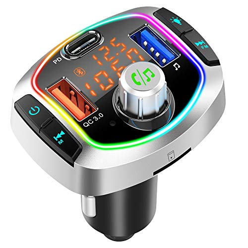 Bluetooth FM Transmitter for Car, QC3.0+USB-C Fast Charger Wireless Bluetooth Car FM Radio Adapter Bluetooth 5.0 Music Player FM Car Kit with Hands-Free Calls, 3 USB Ports, Support TF Card USB Drive
