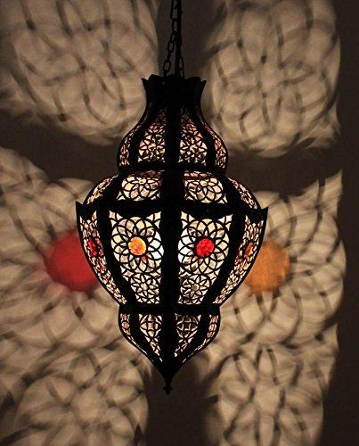 Orientalische Lampe Hängelampe Deckenleuchte Marokkanische Pendelleuchte   Echtes Kunsthandwerk aus Marrakesch für tolle Lichteffekte wie aus 1001 Nacht   Hängeleuchte Nouran