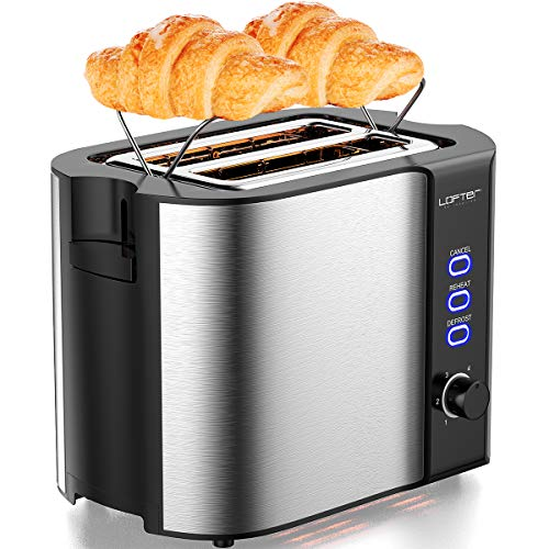 2 Slice Toaster, LOFTer Stainless Steel Bread Toasters Best Rated Prime with Warming Rack, Extra Wide Slots Small Toaster, 6 Bread Shade Settings, Defrost/Reheat/Cancel Function, Removable Crumb Tray, 800W Silver