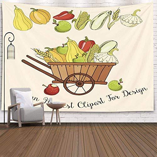 Tapiz para colgar en la pared, decoración de arte para el hogar, composición de dibujo, cosecha de otoño, elementos individuales, manzana de calabaza, tapices de fondo para el dormitorio de la sala de