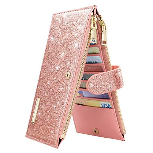 Womens RFID Blocking Pink Glitter Leather Multi Card Organizer Bifold Pink Wallet with Zipper Pocket,Rose Gold