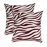Zebra Decorative Throw Pillow Covers 18' x 18', Burgundy Red, Couch Pillows for Living Room,Farmhouse Pillow Covers,Accent Pillows for Sofa,car,Garden,Outdoor Party,Set of 2