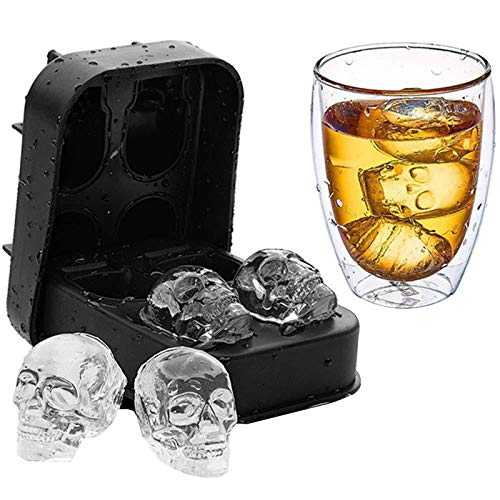 Silicone Skull Ice Tray Four Even Silicone Ice Tools Homemade Icing Cube Mold Creative Ice Making Box Small Household Freezer|Ice Cream Tubs|