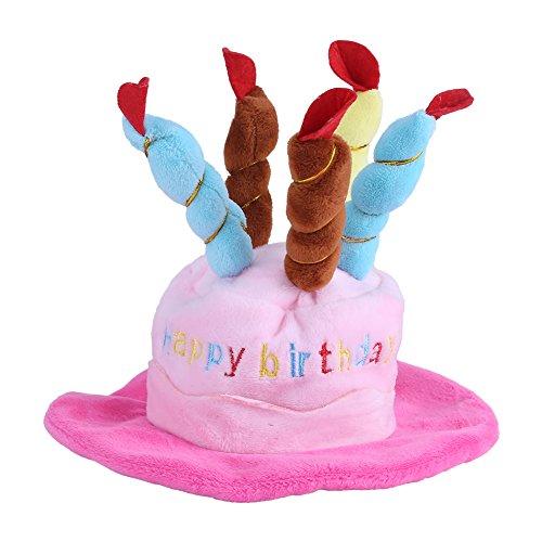 Fdit Pet Geburtstagsparty Hut Katze Hund Bunte Kerzen Partyhut mit Kuchen Pet Kostüm Zubehör für Hunde Katzen kleine Tiere(Rose)