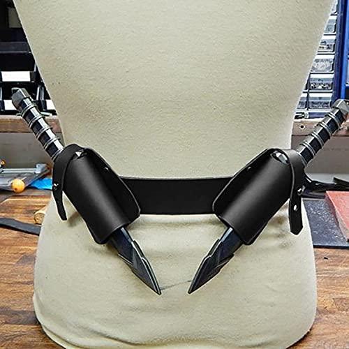 Bnjghcug Guerrero Renacentista Vaina De Espada Doble - Cinturón De Cuero De PU Soporte De Rana Daga Vintage para Hombres Accesorios De Disfraz De Caballero Larp Accesorios De Fotografía,Negro