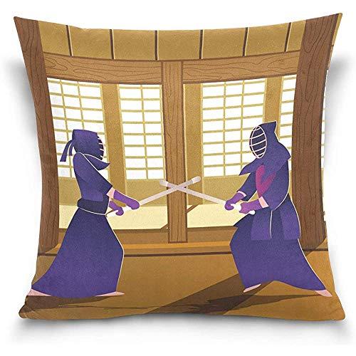 Fundas de almohada de terciopelo suave Kendo Dojo japonés, 18X18 en fundas de almohada, protectores de impresión de doble cara para decoración del hogar