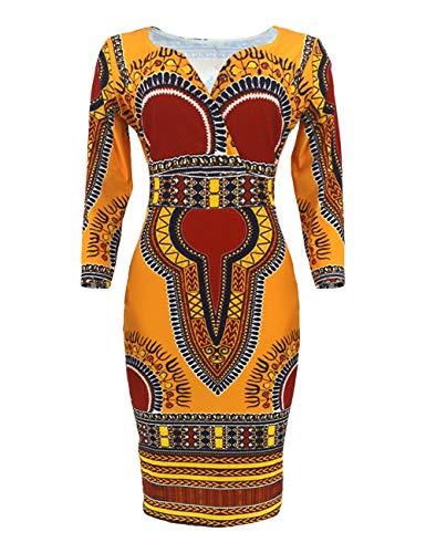 8020 - Vestido de mujer estilo nacional con mangas 7/4 y cuello en V, sexy y generoso, hermoso y diferente falda ajustada de longitud media