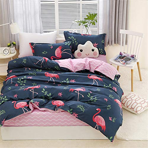 Flamingo Azul Funda nórdica 4 Piezas Estilo Nórdico Animal Flamingo Azul Rosa Ropa de Cama (1...