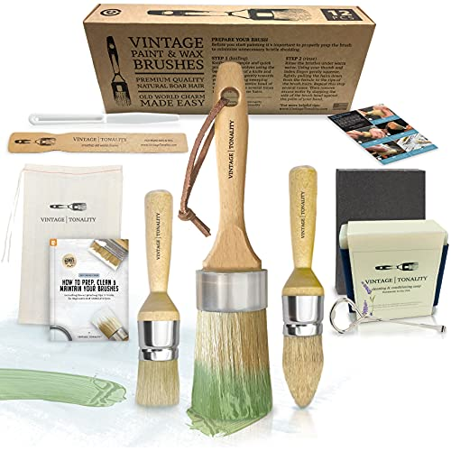 Vintage Tonality Pro Chalk & Wax Paint Brush Set for Painting & Repurposing Furniture, 12 PCS Kit, Works with Chalk & Milk Paints, Wax, Home Decor DIY Large & Small Projects • Bristle Hand Soap
