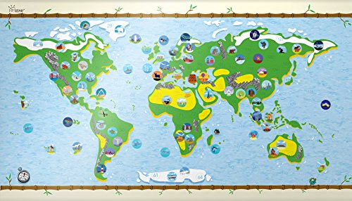 Bucket List World Map - Kids Affordable Gift! Rewritable Edition Best Interactive Fun and Learning Map for Kids & Innovative Design-By Master Simon Schuetz