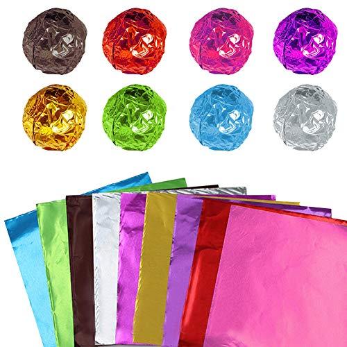900 Stück Bonbonier-Verpackungen aus Aluminiumfolie,10x10 cm,quadratische Aluminiumfolien,farbige Folien-Blätter für selbstgemachte Süßigkeiten von Partys,Hochzeiten,Weihnachtsdekorationen(9 Farben)