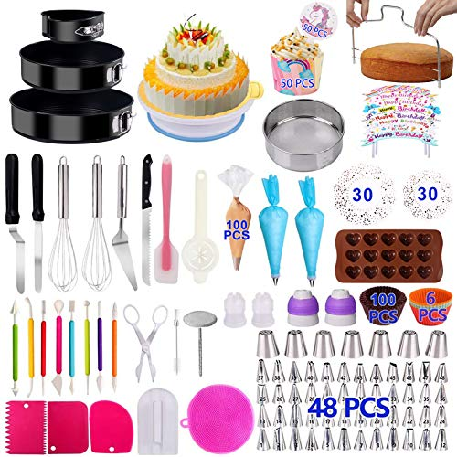 Cake Decorating Supplies 2020 Upgrade 460 PCS Baking Set with Springform Cake Pans Set,Cake Rotating Turntable,Cake Decorating Kits, Muffin Cup Mold, Cake Baking Supplies for Beginners and Cake Lovers