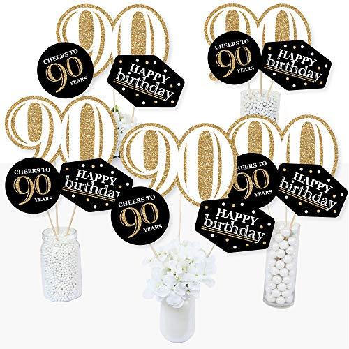 Adult 90th Birthday Centerpiece Sticks - Black and Gold