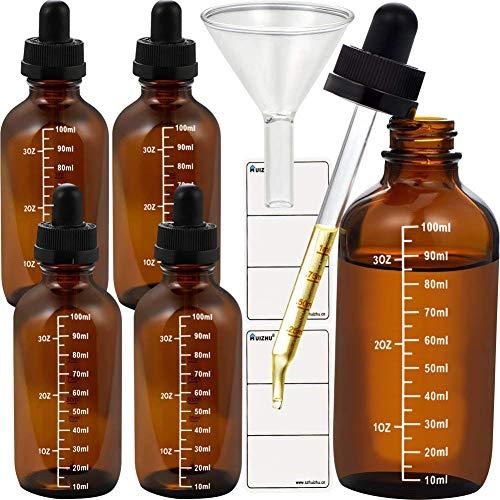 HAOER 120ml 5pcs Glas Tropfflasche elektronische Zigarette Flasche ätherisches Öl Flasche mit skalierten Pipette Trichter und Tags(Braun, 120ml x 5pcs)