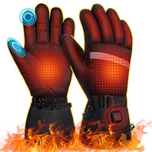 MOVTOTOP Heated Gloves, Portable Battery Heated Gloves for Men Women,【 2020 Newest 】 3 Heating Temperature Adjustable Touchscreen Waterproof Heated Motorcycle Gloves Suitable for Outdoor Activities