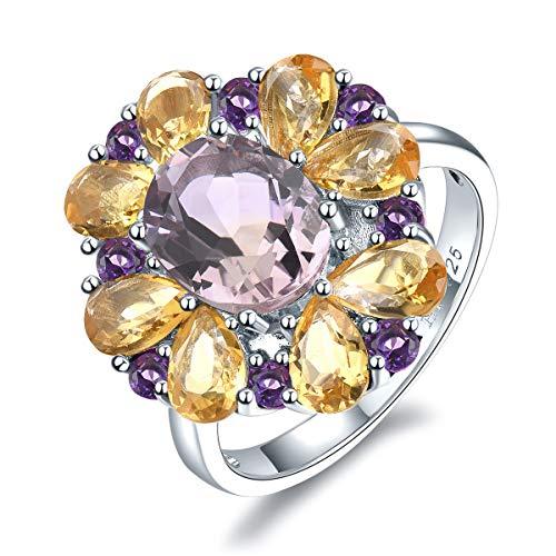 hutang massiv 925Sterling Silber Natural Pink Ametrin und afrikanischer Amethyst und Citrin Ring für Damen Fine Jewelry (N 1/2)