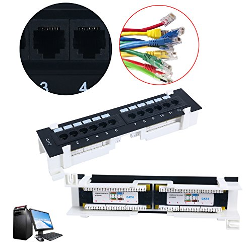 Cat6 12 Port RJ45 Patch Panel UTP LAN Network Adapter Cable Connector...