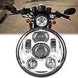 5.75 Inch LED Headlight for Har-ley Motorcycle Chrome Headlamp(Silver Headlight)