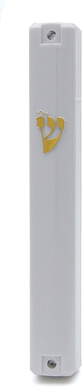 Holy Shaddi Shin Special Campaign Plastic Classic Mezuza Design Hou Sale item White Mezuzah