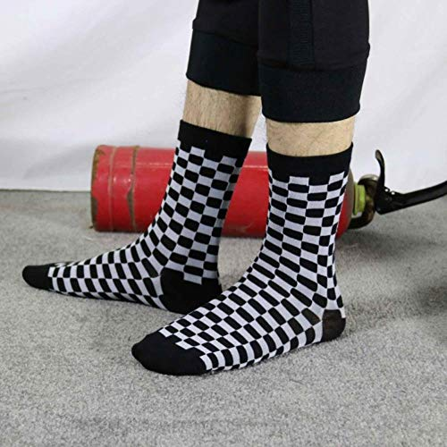 Zent Calcetines a Cuadros para Mujer Calcetines a Cuadros geométricos Hombres Hip Hop Algodón Unisex Streetwear Novedad Calcetines, 2