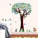 Pegatinas De Pared Monos Lindos Fox Birds Tree Tatuajes De Pared Dormitorio Baby Nursery Decoración Para El Hogar Dibujos Animados Animales Pegatinas Pvc Mural Art Diy