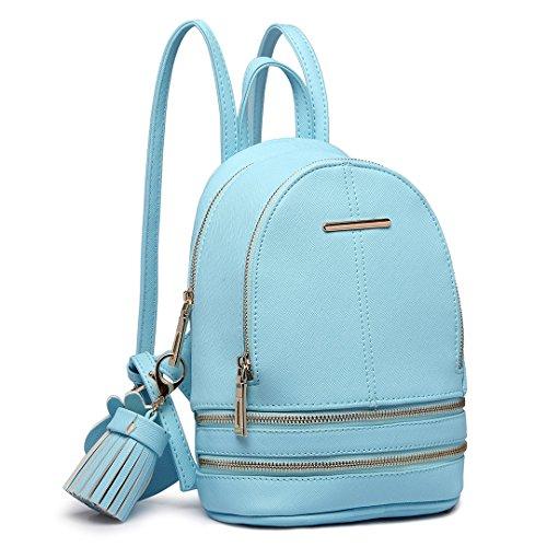 Miss Lulu Rucksack Daypack Damen Tasche Umhängetasche Rucksackhandtaschen Pu Leder Wasserdichte Schulrucksäcke Schultasche Kleine Geldbörse (Blau)