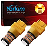 Yorkim Ultra Bright 3157 LED Bulb Amber, 3157 LED Brake Lights, 3157 LED Backup Reverse Lights, 3156 LED Tail Lights with Projector - 3056 3156 3156A 3057 4057 3157 4157 T25 LED Bulbs, Pack of 2