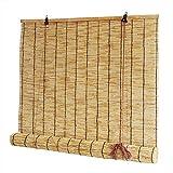 YXW Cortinas de caña para Puertas y Ventanas, persianas enrollables Romanas de bambú, Estores de Bambú para Patio, Porche, Exterior, Interior, con Ganchos (60 × 160 cm / 100 × 220 cm)