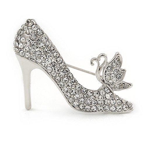 Avalaya - Broche de zapatos de tacón alto con cristal transparente en metal plateado – 40 mm L