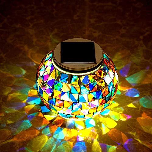 Lámpara esférica, de cristal, luz mosaico, luces de jardín LED que cambian de color, luz solar, resistente al agua, funciona con energía solar, lámpara de mesa para decoración interior o exterior